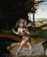 Hercules and the Erimanthian Boar painting reproduction, Lucas Cranach