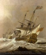 HMS Resolution in a Gale painting reproduction, Willem Van De Velde