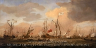 HMY Mary Arriving with Princess Mary at Gravesend in a Fresh Breeze painting reproduction, Willem Van De Velde