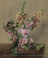 Hollyhocks painting reproduction, Henri Fantin-Latour