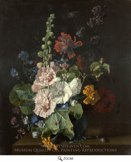 Jan Van Huysum, Hollyhocks and Other Flowers in a Vase oil painting reproduction