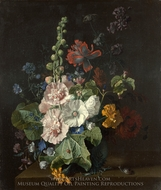 Hollyhocks and Other Flowers in a Vase painting reproduction, Jan Van Huysum