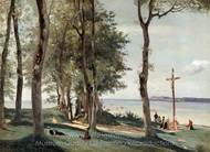 Honfleur: Calvary painting reproduction, Jean-Baptiste Camille Corot