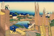 Honjo Tatekawa, the Timber Yard at Honjo painting reproduction, Katsushika Hokusai