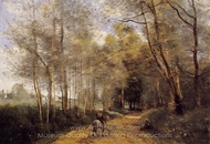 Horseman at the Entrance of the Forest painting reproduction, Jean-Baptiste Camille Corot