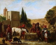 Horses at a Fountain painting reproduction, Eugene Delacroix