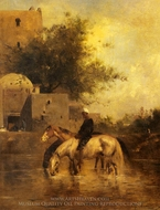 Horses Watering In A River painting reproduction, Eugene Fromentin