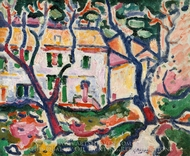 House behind Trees painting reproduction, Georges Braque