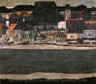 Houses by the River II (The Old City II) painting reproduction, Egon Schiele