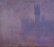Houses of Parliament, Seagulls painting reproduction, Claude Monet