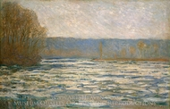 Ice Breaking Up on the Seine near Bennecourt painting reproduction, Claude Monet
