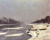 Ice Flows on the Seine at Bougival painting reproduction, Claude Monet