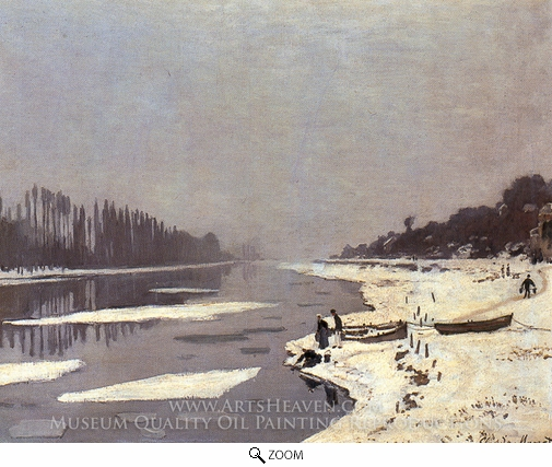Claude Monet, Ice Flows on the Seine at Bougival oil painting reproduction