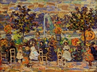 In Luxembourg Gardens painting reproduction, Maurice Prendergast