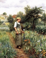 In the Garden painting reproduction, Daniel Ridgway Knight