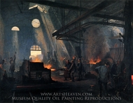Interior of a Factory (Une Forge) painting reproduction, Fernand Cormon