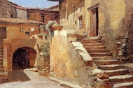 Italian Courtyard painting reproduction, Frank Duveneck