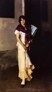 Italian Girl with Fan painting reproduction, John Singer Sargent