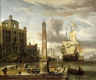 Italianate Harbour View with a Fantasy Building and Man-of-War painting reproduction, Abraham Storck