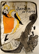 Jane Avril at the Jardin De Paris painting reproduction, Henri De Toulouse-Lautrec