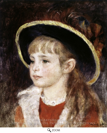 Pierre-Auguste Renoir, Jeanne Henriot (Girl in a Blue Hat) oil painting reproduction