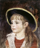 Jeanne Henriot (Girl in a Blue Hat) painting reproduction, Pierre-Auguste Renoir