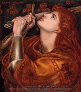 Joan of Arc painting reproduction, Dante Gabriel Rossetti