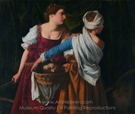 Judith and Her Maidservant with the Head of Holofernes painting reproduction, Orazio Gentileschi