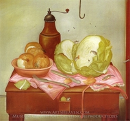 Kitchen Table painting reproduction, Fernando Botero