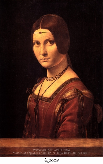 Leonardo Da Vinci, La Belle Ferroniere (Portrait of a Lady from the Court of Milan) oil painting reproduction
