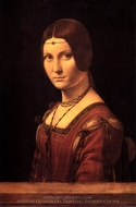 La Belle Ferroniere (Portrait of a Lady from the Court of Milan) painting reproduction, Leonardo Da Vinci