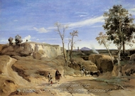 La Cervara, the Roman Countryside painting reproduction, Jean-Baptiste Camille Corot