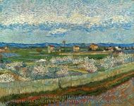 La Crau with Peach Trees in Bloom painting reproduction, Vincent Van Gogh