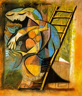 La Femme Aux Pigeons painting reproduction, Pablo Picasso (inspired by)
