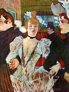 La Goulue Entering the Moulin Rouge Accompanied by Two Women painting reproduction, Henri De Toulouse-Lautrec