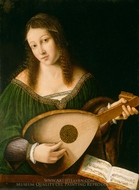Lady Playing a Lute painting reproduction, Bartolomeo Veneto