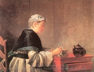 Lady Taking Tea painting reproduction, Jean Simeon Chardin