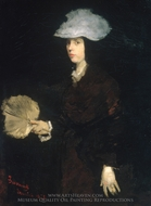 Lady with Fan painting reproduction, Frank Duveneck