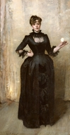 Lady with the Rose (Charlotte Louise Burckhardt) painting reproduction, John Singer Sargent