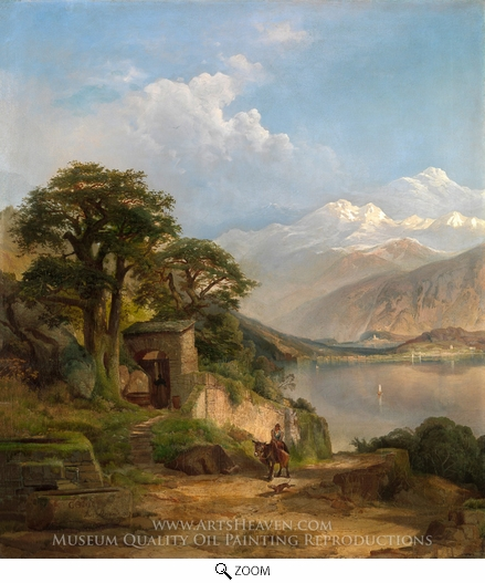 Thomas Moran, Lake Como oil painting reproduction