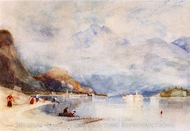 Lake Maggiore from Stresa painting reproduction, Sir Alfred East