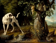 Landscape with a Dog and Partridges painting reproduction, Alexandre Francois Desportes