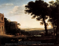 Landscape with a Sacrifice to Apollo painting reproduction, Claude Lorraine