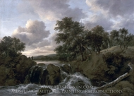 Landscape with a Waterfall painting reproduction, Jacob Van Ruisdael