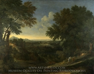 Landscape with Abraham and Isaac painting reproduction, Gaspard Dughet