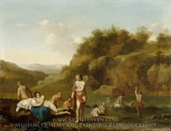 Landscape with Bathing Nudes painting reproduction, Cornelis van Poelenburgh