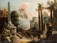 Landscape with Classical Ruins and Figures painting reproduction, Sebastiano Ricci