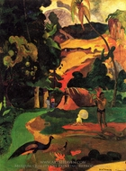 Landscape with Peacocks painting reproduction, Paul Gauguin