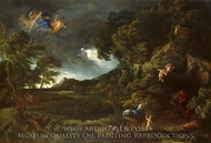 Landscape with the Union of Dido and Aeneas painting reproduction, Gaspard Dughet