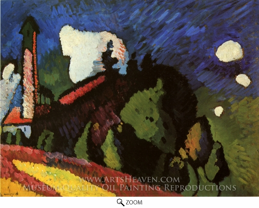 Wassily Kandinsky, Landscape with Tower oil painting reproduction
